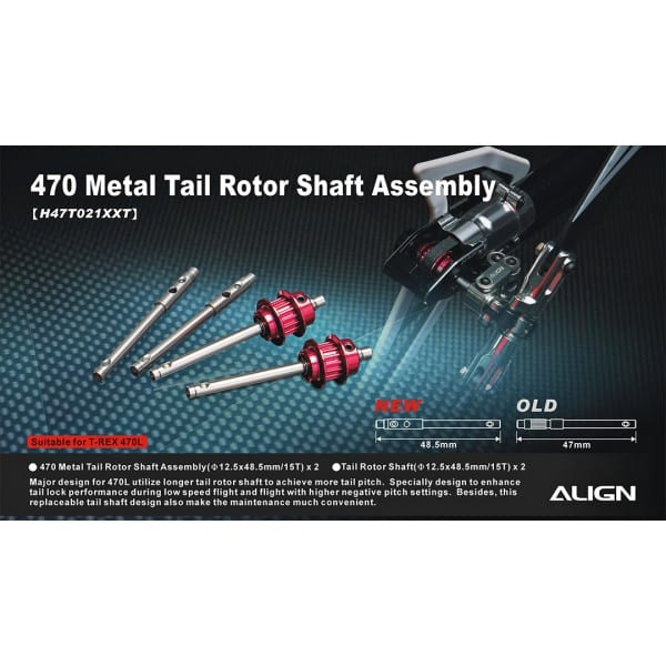 Align Trex 470L Metal Tail Rotor Shaft Assembly H47T021XX