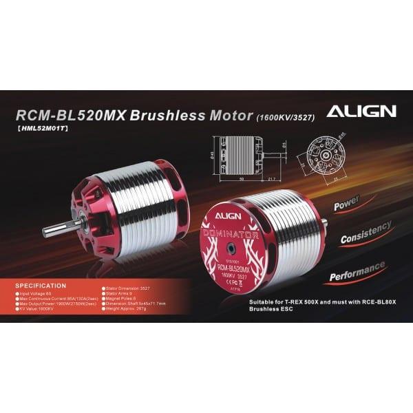 Align Trex 500X/500L 6S 520MX Brushless Motor (1600Kv/3527) HML52M01