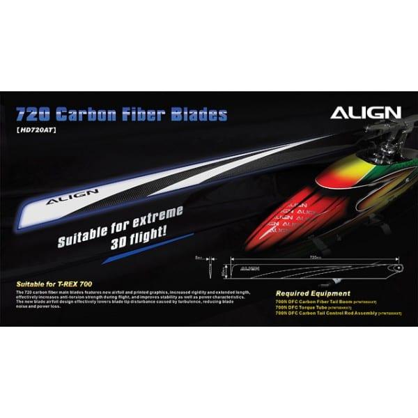 Align Trex 700 3G Flybarless 720 Carbon Fiber Blades HD720A